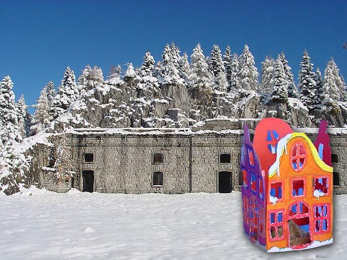 Vista frontale del Forte Alto di Col Vidal