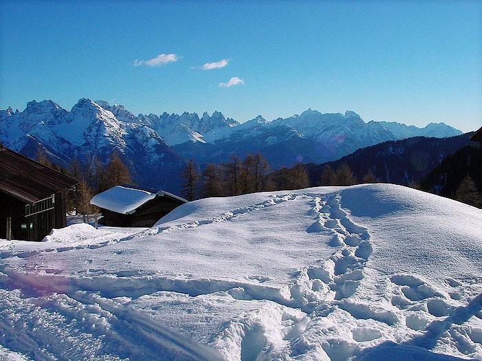 Le Dolomiti d'Oltrepiave dai Tabià de Soracrepa a Pian dei Buoi