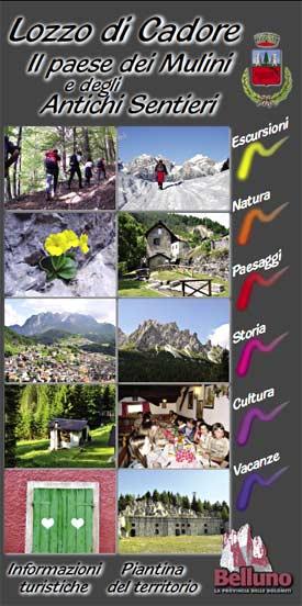 copertina della carta turistica di Lozzo di Cadore