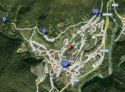 foto della mappa google del posizionamento dei pannelli informativi di Lozzo di Cadore