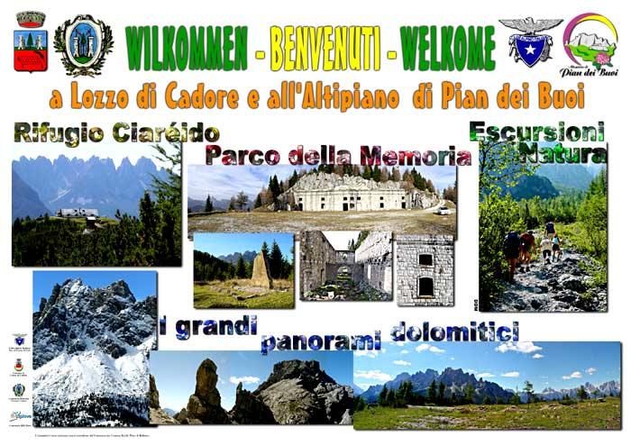 pannello informativo località Le Spesse a Lozzo di Cadore: benvenuti a Lozzo di Cadore e all'altipiano di Pian dei Buoi