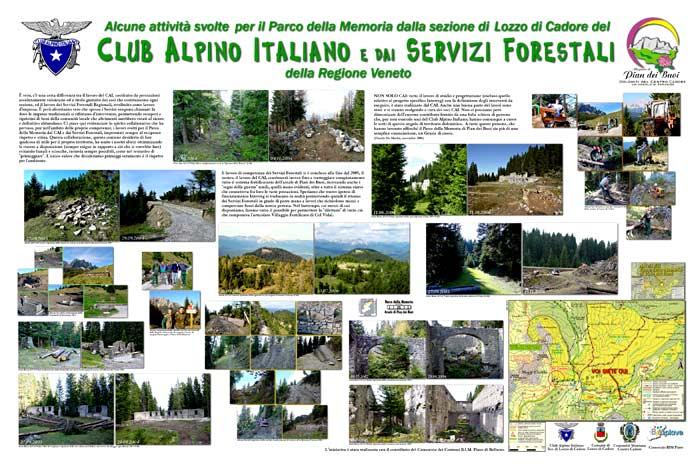 pannello informativo sulla spianata dell'ex Ric. Cervera: i lavori del Gruppo Antichi Sentieri e dei Servizi forestali della Regione Veneto