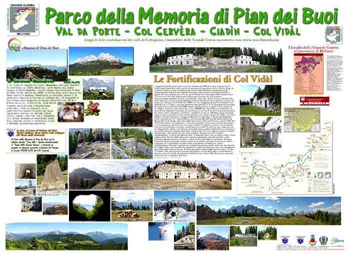 pannello informativo piazza IV novembre a Lozzo di Cadore: il Parco della Memoria di Pian dei Buoi