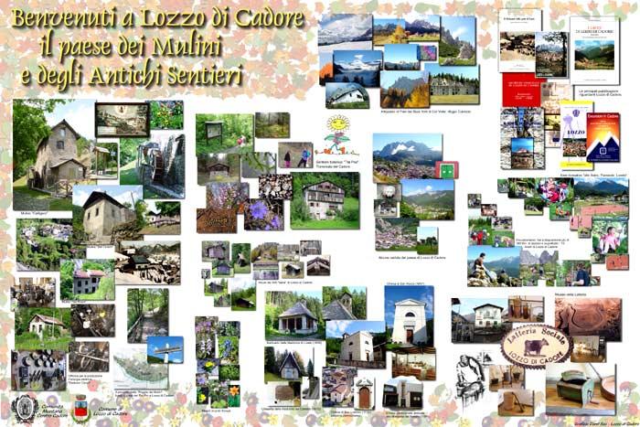pannello informativo piazza iv novembre: Lozzo di Cadore, il paese dei Mulini e degli Antichi Sentieri