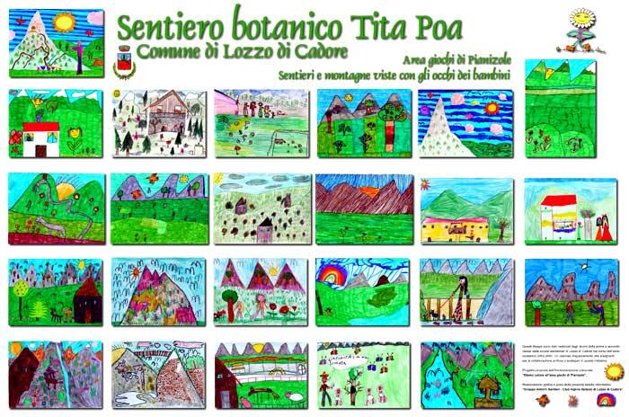 pannello informativoa Pianizole di Lozzo di Cadore: Montagne e sentieri visti con gli occhi dei bambini