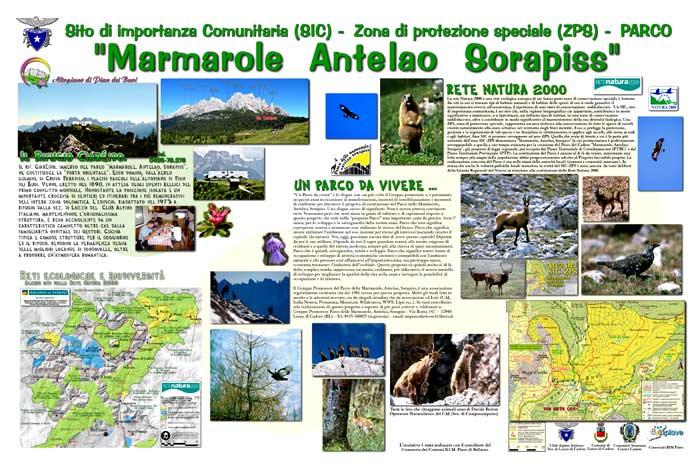 pannello informativo a Pian dei Buoi, Soracrepa: il SIC ZPS Marmarole Antelao Sorapiss