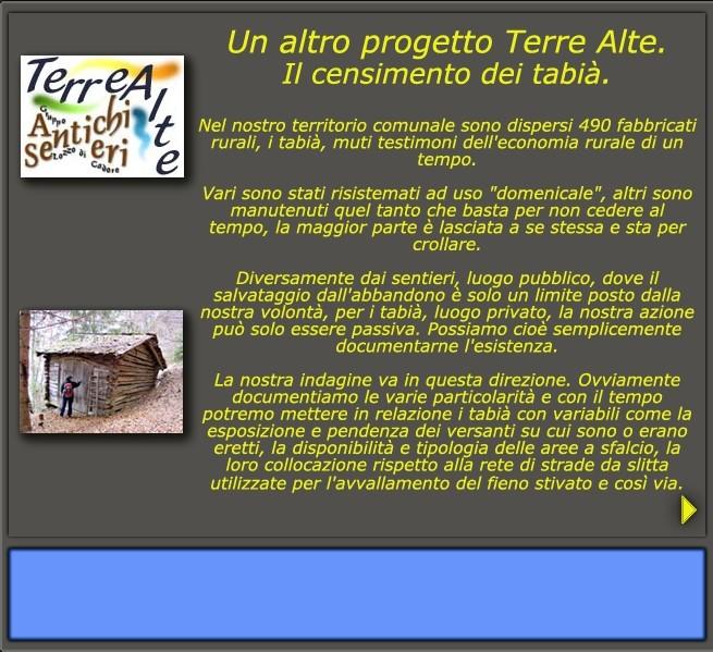 I Tabias: un altro progetto Terre Alte: il censimento dei tabià (tabias)