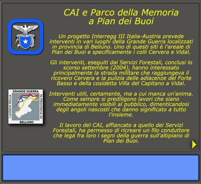 CAI e Parco della memoria a Pian dei Buoi