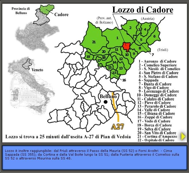 Inquadramento geografico di Lozzo di Cadore