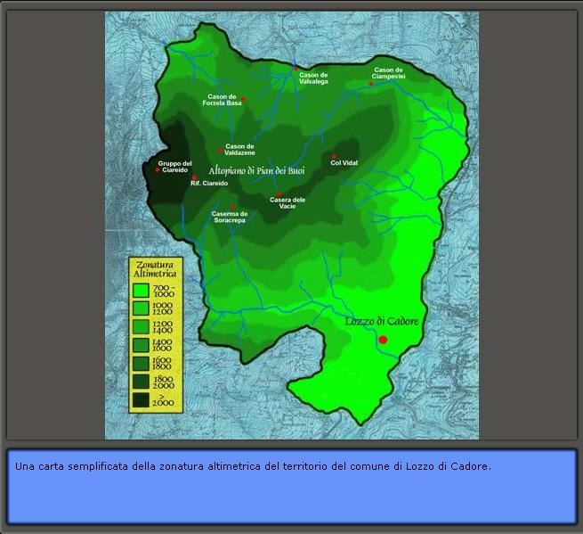 Inquadramento geografico di Lozzo di Cadore: altimetria del territorio