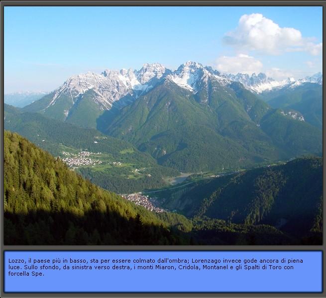 Inquadramento geografico di Lozzo di Cadore: il paese con lo sfondo delle Dolomiti d'Oltrepiave