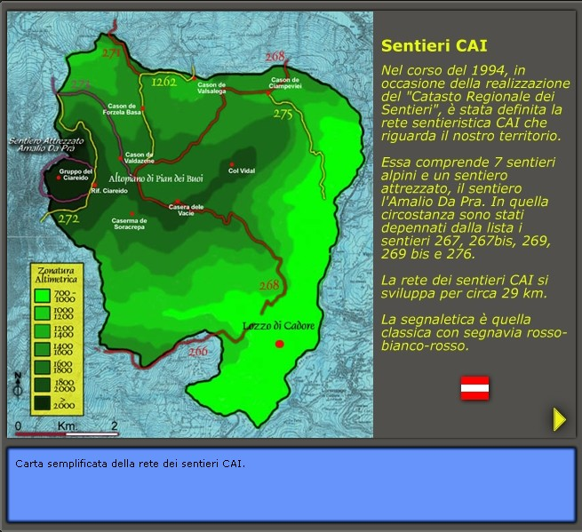 la sentieristica esistente a Lozzo di Cadore: Sentieri CAI