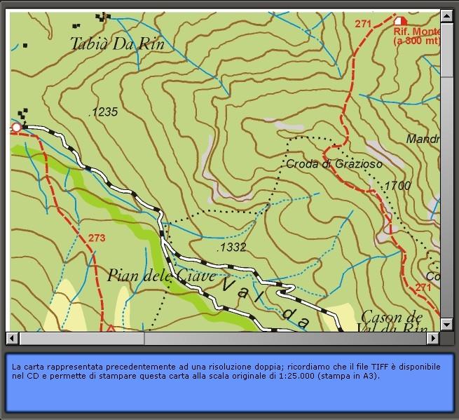 la sentieristica esistente a Lozzo di Cadore: Carta dei Sentieri di Lozzo di Cadore 1:25.000 (particolare)