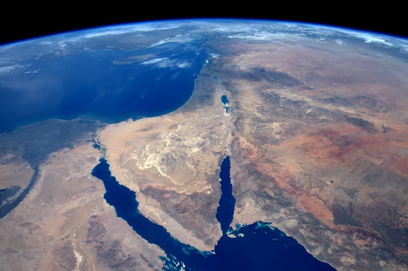 Penisola del Sinai e deserto della Siria (foto di Tim Peake ISS)