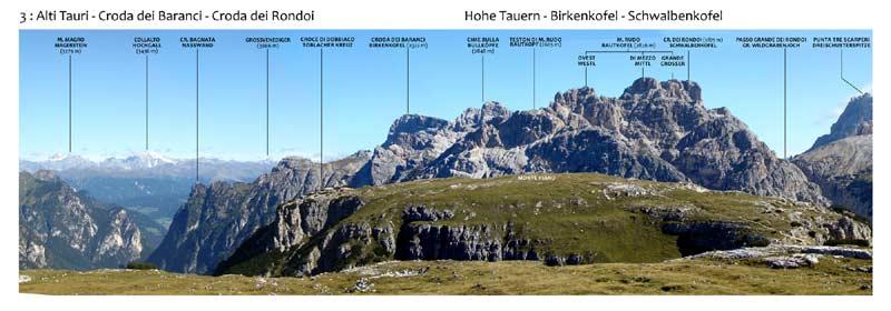 Monte Piana - Panorama 360 - 3: Alti Tauri - Croda dei Baranci - Croda dei Rondoi