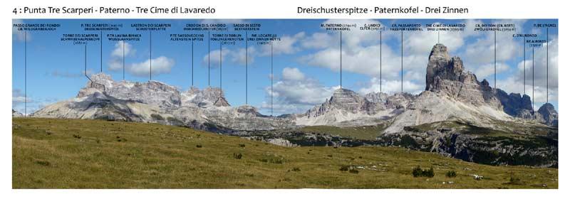 Monte Piana - Panorama 360 - 4: Punta Tre Scarperi - Paterno - Tre Cime di Lavaredo