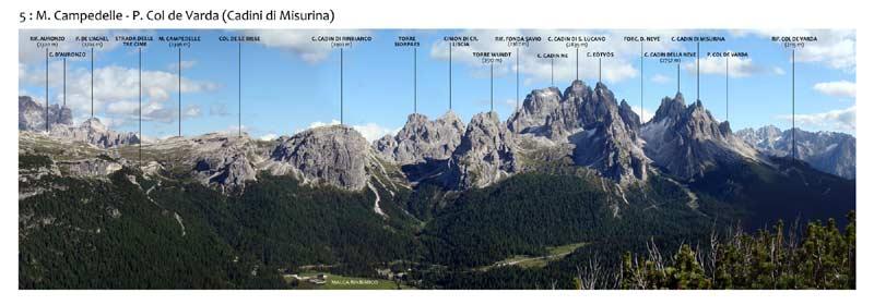 Monte Piana - Panorama 360 - 5: M. Campedelle - P. Col de Varda (Cadini di Misurina)