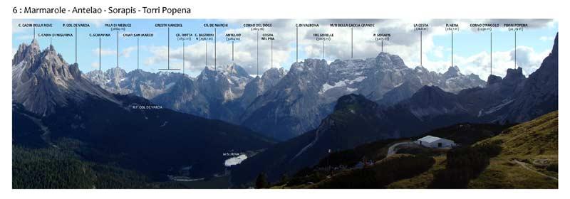 Monte Piana - Panorama 360 - 6: Marmarole - Antelao - Sorapis - Torri Popena