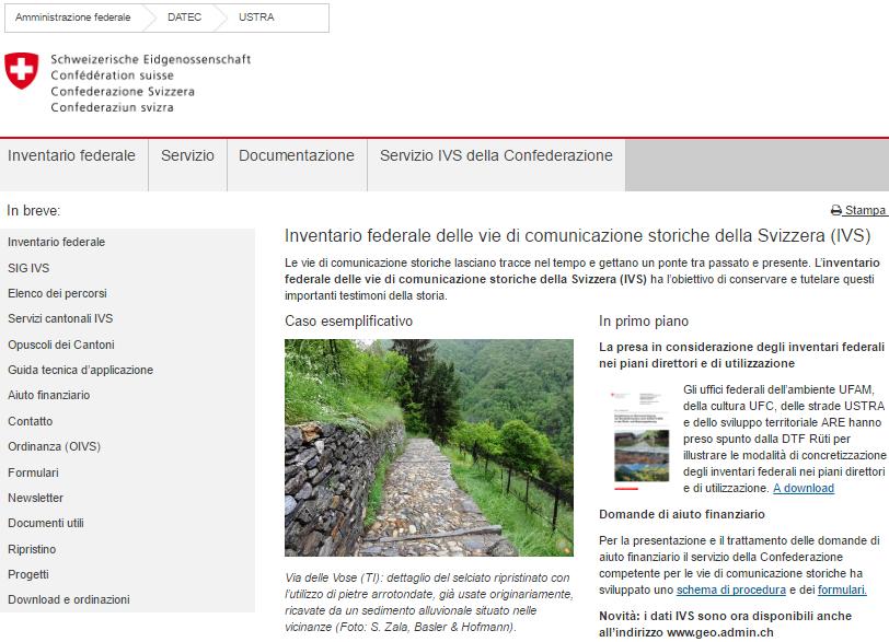 IVS: Inventario federale delle vie di comunicazione storiche della Svizzera (IVS)