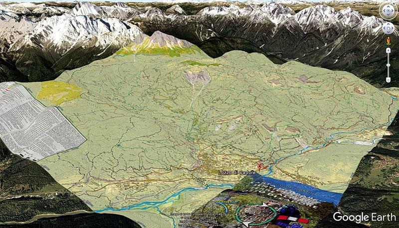 Overlay della Carta dei Sentieri di Lozzo di Cadore sulle mappe di Google Earth