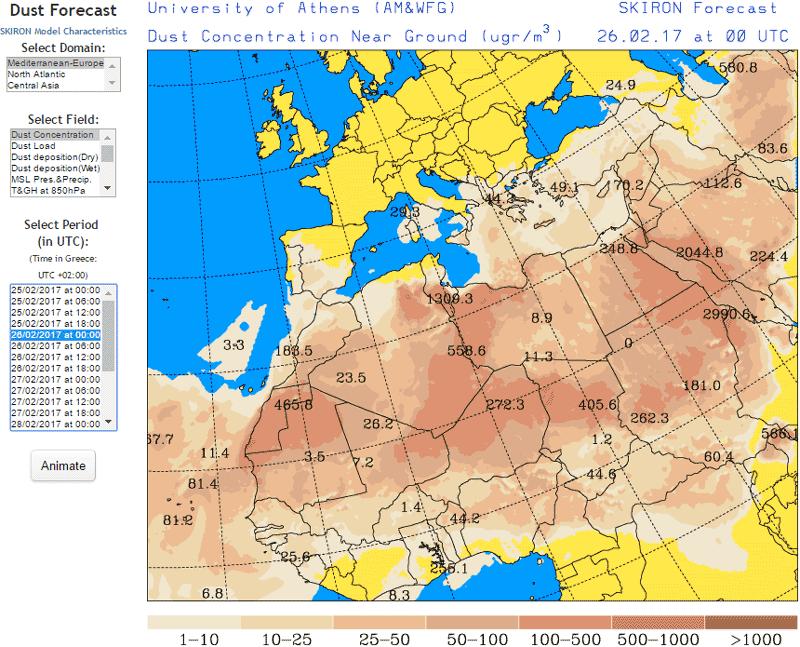 Carta descrittiva della previsione della concentrazione della sabbia sull'area mediterranea