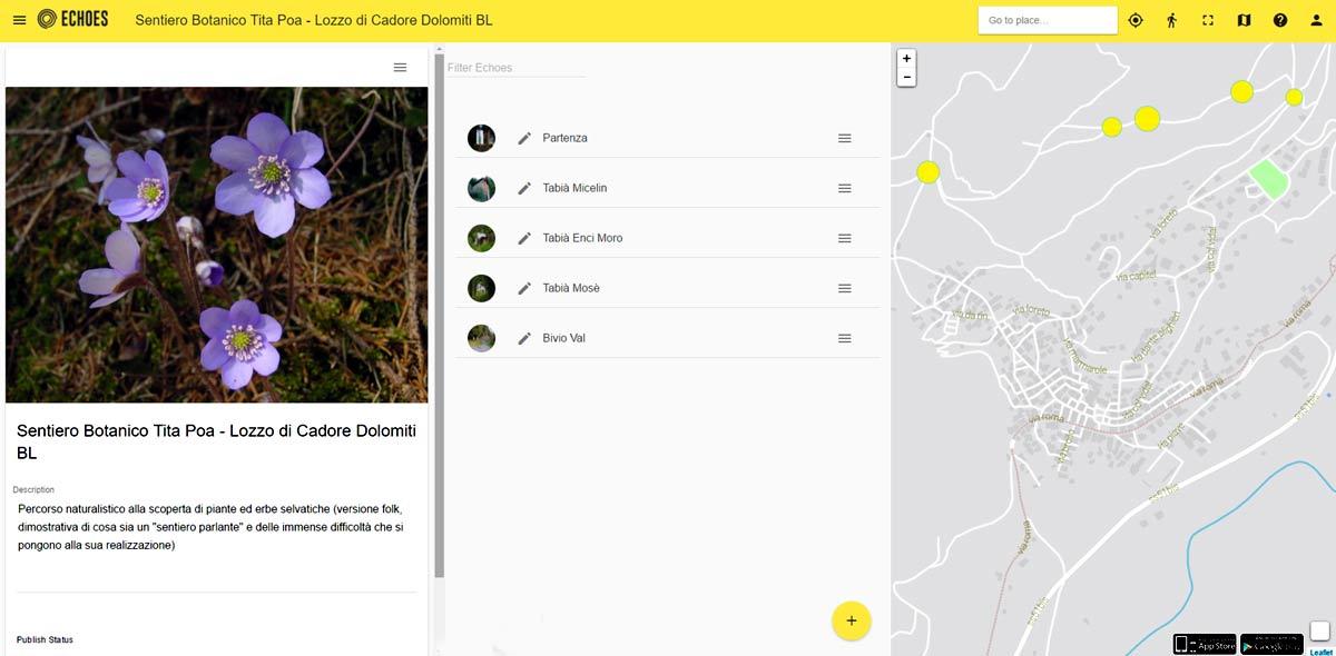 """Schermata Sentiero botanico """"parlante"""" sul sito Echos.xyz"""