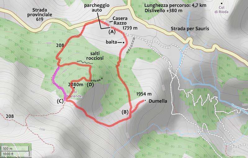 Cartina percorso Dumella e Col Marende (Altopiano di Razzo)
