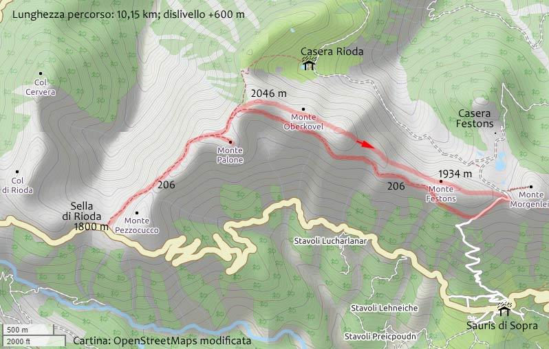 Cartina escursione Sella Rioda, M. Palon, M. Festons e ritorno