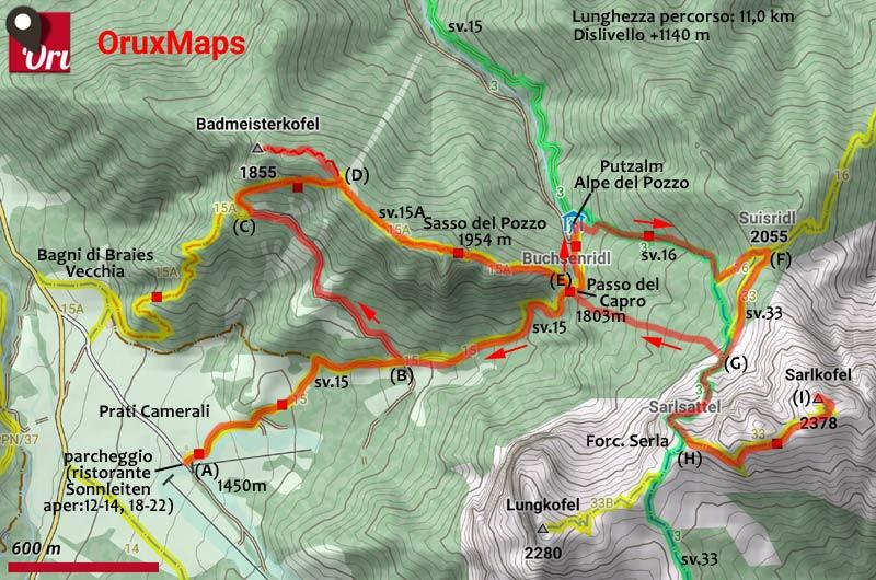 cartina escursione al M. Serla