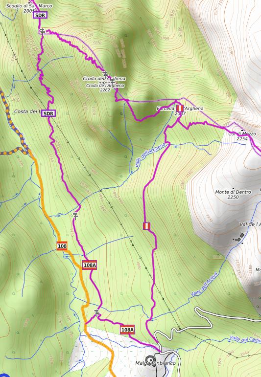 sentiero 108 allo Scolgio di San MArco e Croda de l Arghena