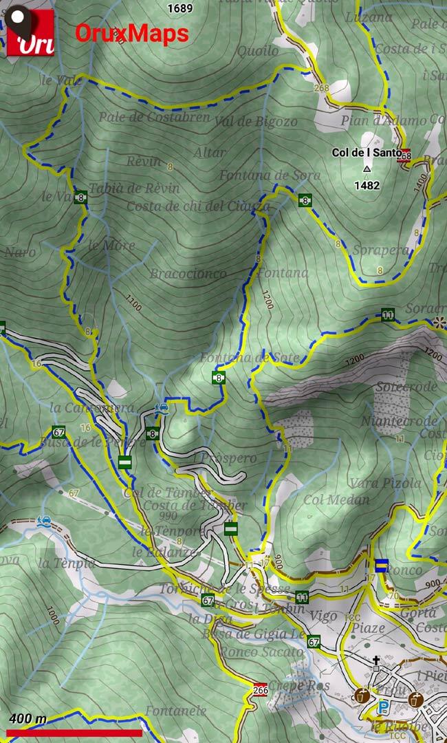 Anello dei Faggi, segnavia numero 8, degli Anelli e Vie di Lozzo di Cadore, su mappa Alps_Ost di OpenAndroMaps visualizzata tramite OruxMaps