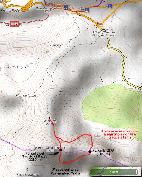 Mappa esemplificativa del percorso per Forcella del Tudaio di Razzo e Forcella 2173