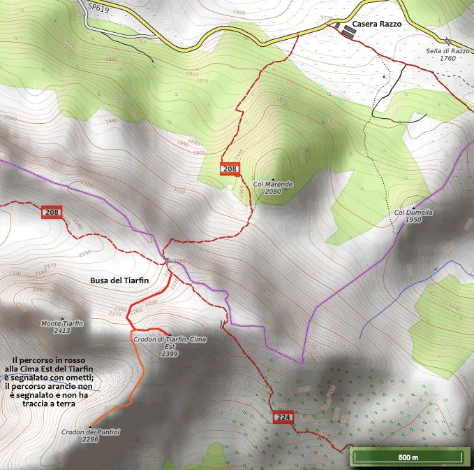 Percorso per la CIma Est del Tiarfin e il Crodon dei Puntioi