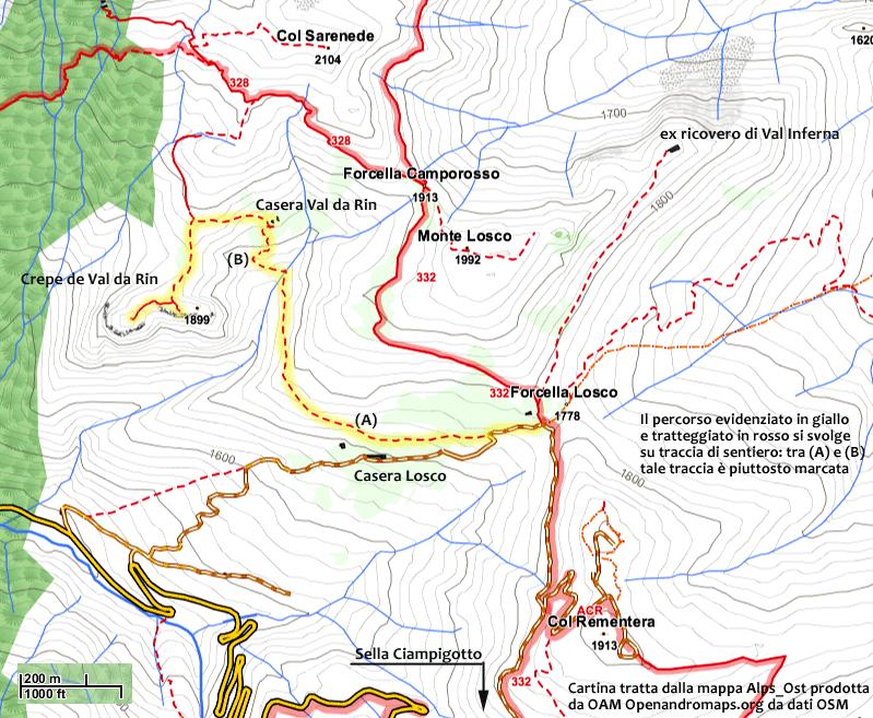 Cartina percorso per Crepe di Val da Rin via casera Losco e casera Val da Rin