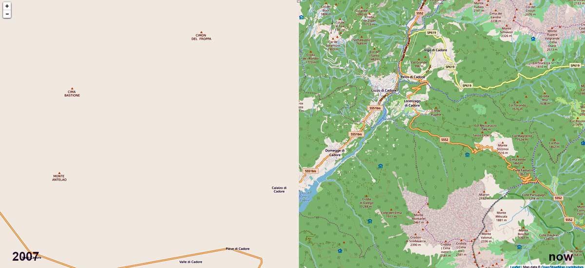 confronto mappa OSM del Centro Cadore tra il 2007 e il 2017