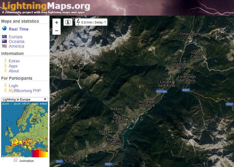Fulmini in tempo reale (LightningMaps.org)
