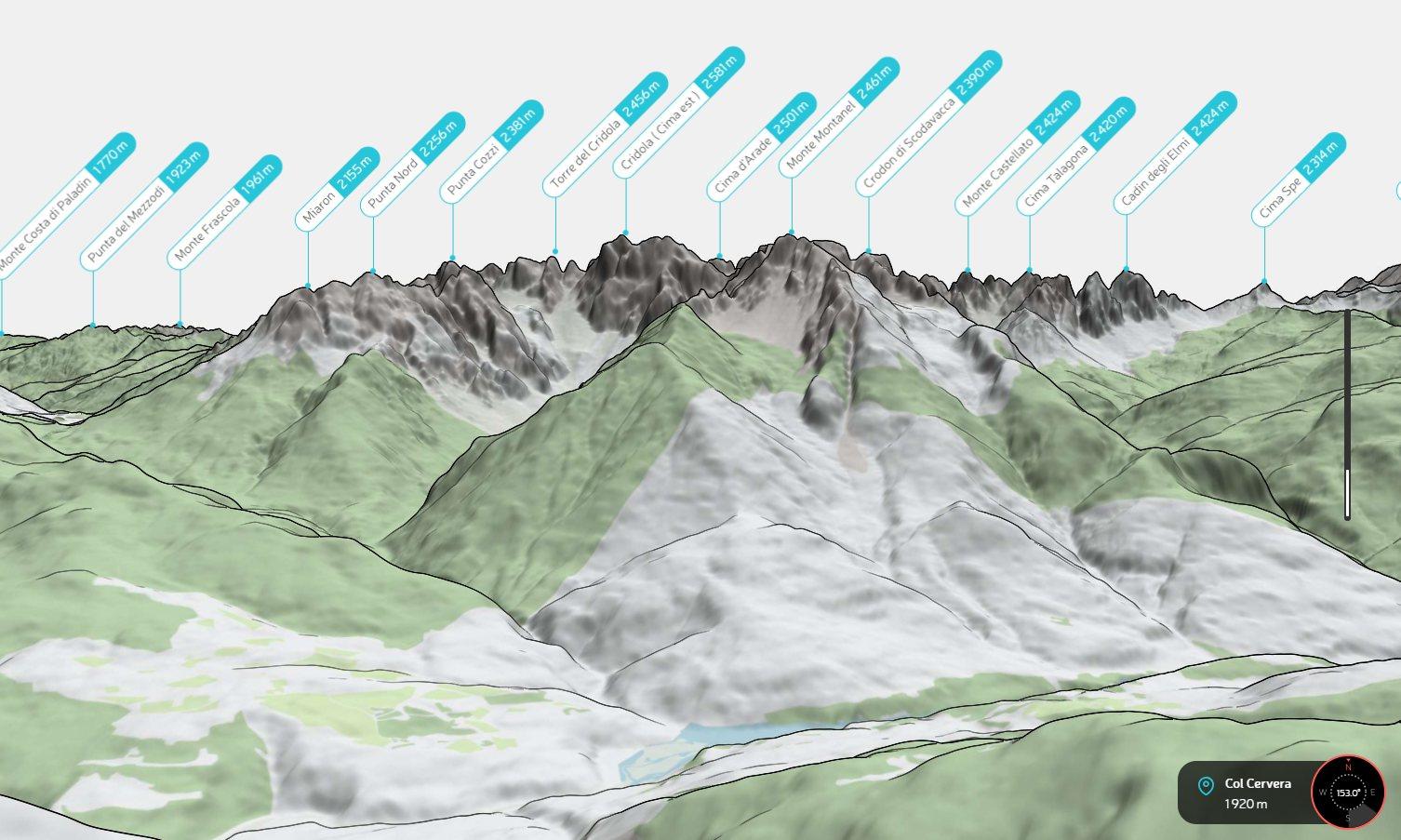 Screenshot di un panorama dal Col Cervera creato con PeakVisor