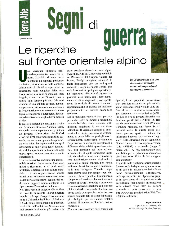Articolo sul Parco della Memoria di Pian dei Buoi a firma di Ugo Mattana apparso sul numero luglio-agosto 2005 della RIvista del CAI (p. 1#4)