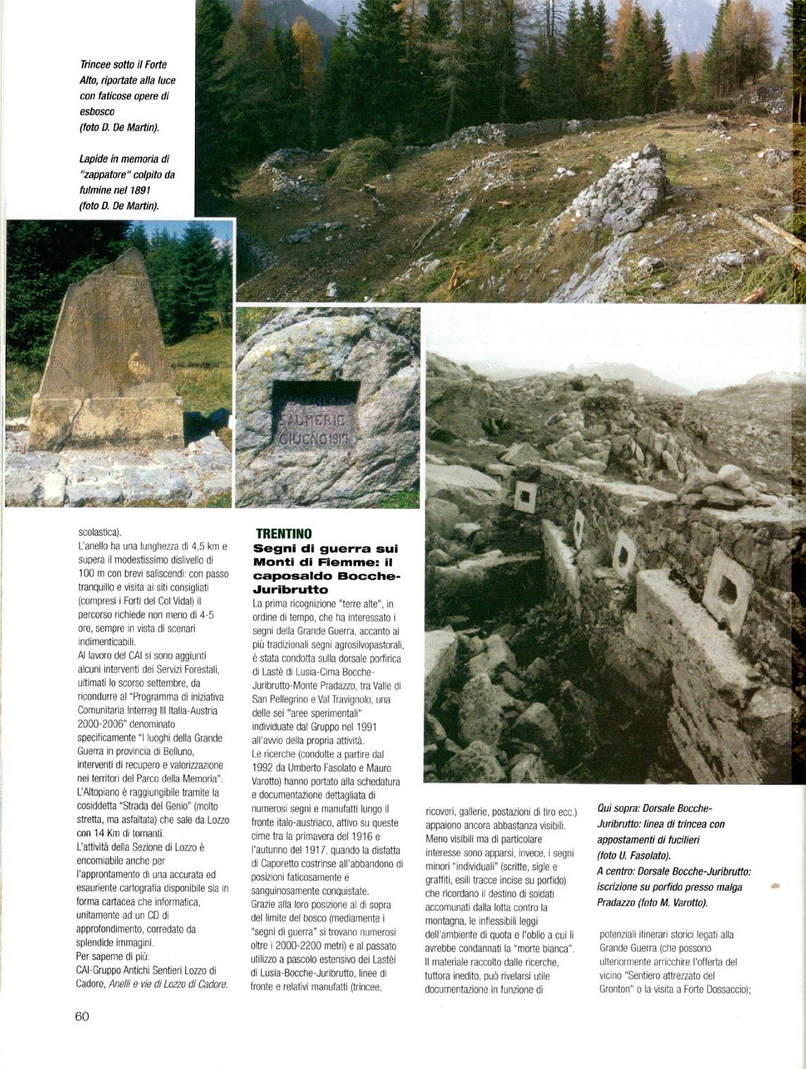 Articolo sul Parco della Memoria di Pian dei Buoi a firma di Ugo Mattana apparso sul numero luglio-agosto 2005 della RIvista del CAI (p. 3#4)