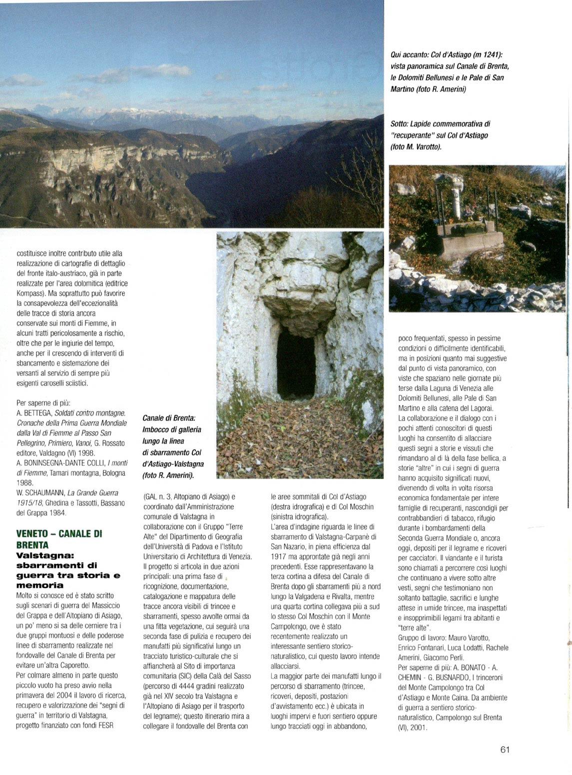 Articolo sul Parco della Memoria di Pian dei Buoi a firma di Ugo Mattana apparso sul numero luglio-agosto 2005 della RIvista del CAI (p. 4#4)