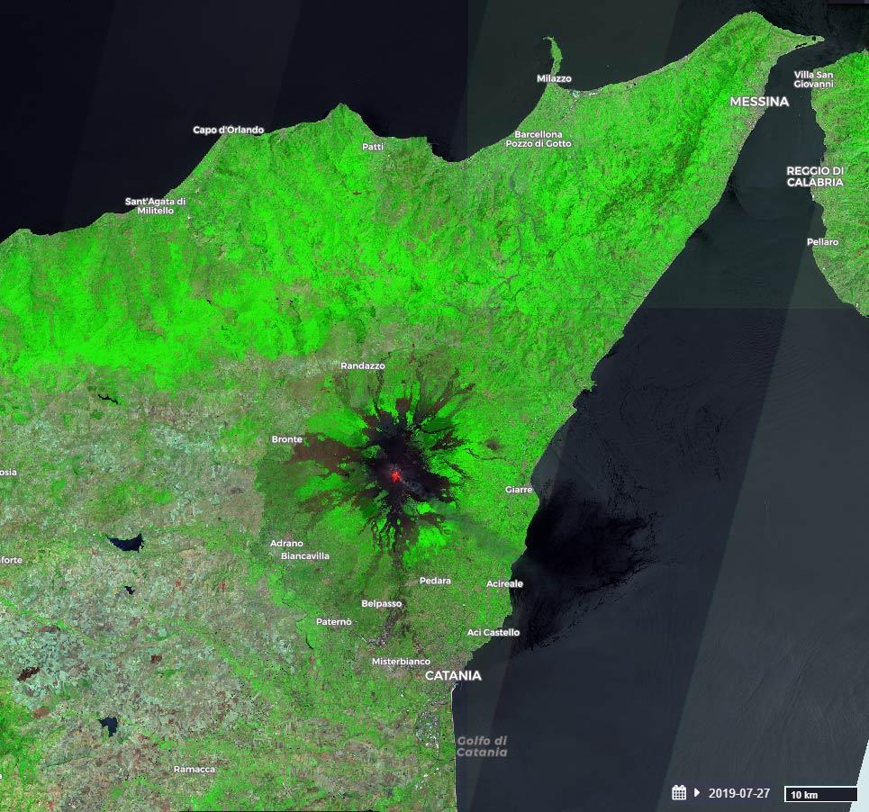 Eruzione dell'Etna del 27-07-2019 vista da Sentinel-2 (SWIR)