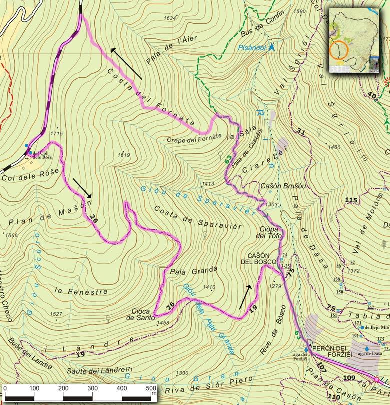 """Mappa del percorso Peron dei Forziei, Costa dei Fornate, Pian de Mason, Pala Granda della serie """"Andar per sentieri a Lozzo di Cadore"""""""