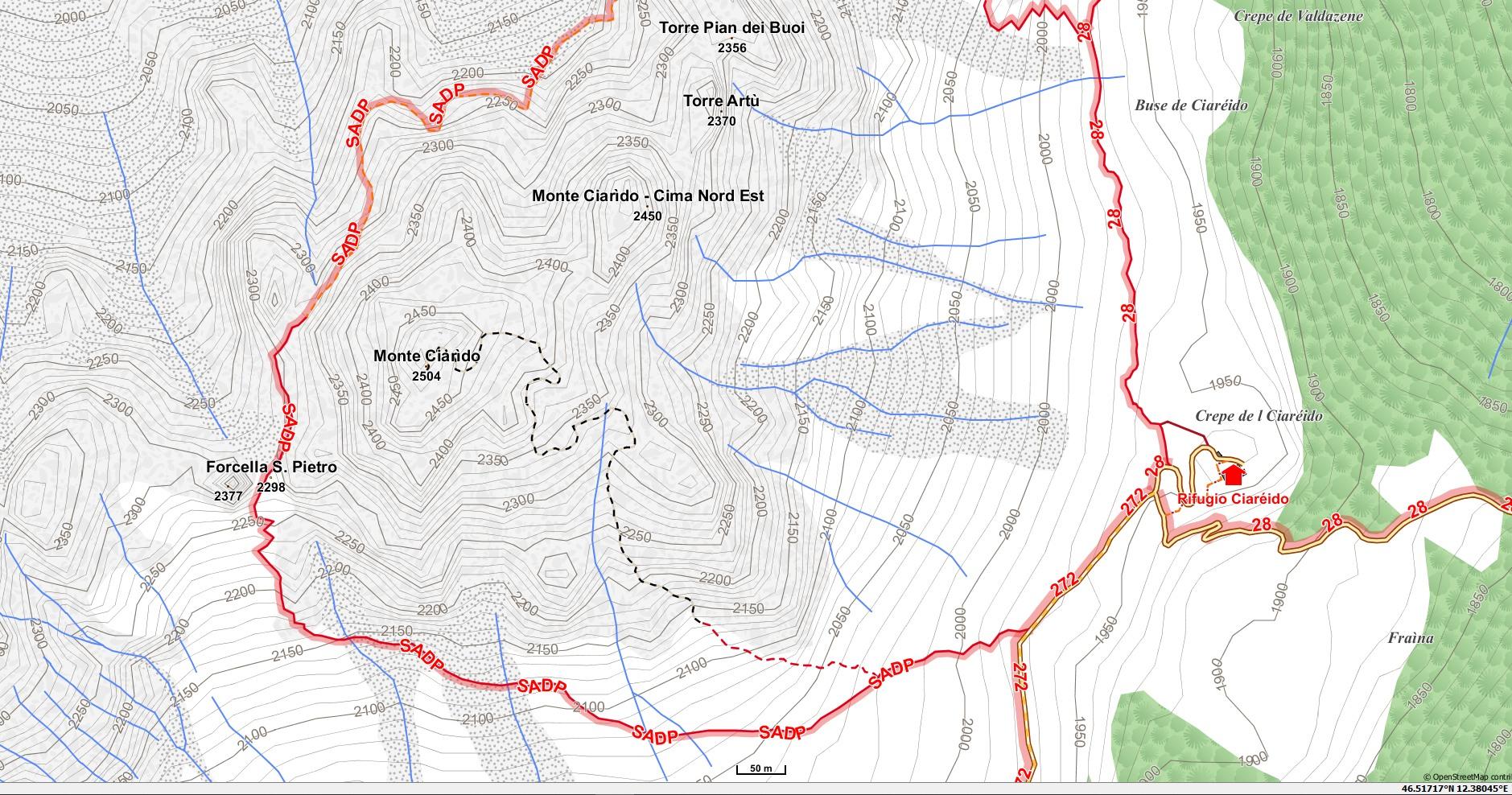 Mappa del M. Ciarìdo (Ciareido) con le curve di livello a 10 m (tratta dalla mappa Alp-Ost scaricabile dal sito OpenAndroMaps)