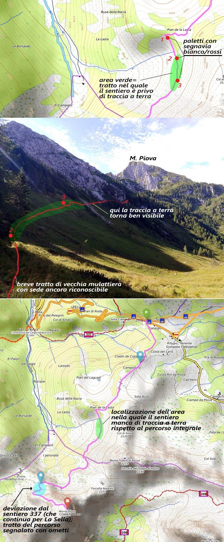 Salita al M. Piova: mappa e foto descrittiva dell'attraversamento erboso sul sentiero 337 subito dopo Pian de la Lasta