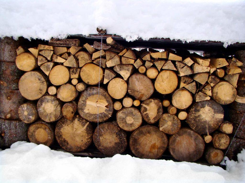 Catasta di legna tra la neve