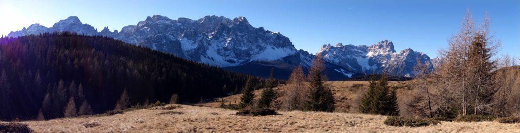 Panoramica da Vallorera sui gruppi del Popera e dei Tre Scarperi