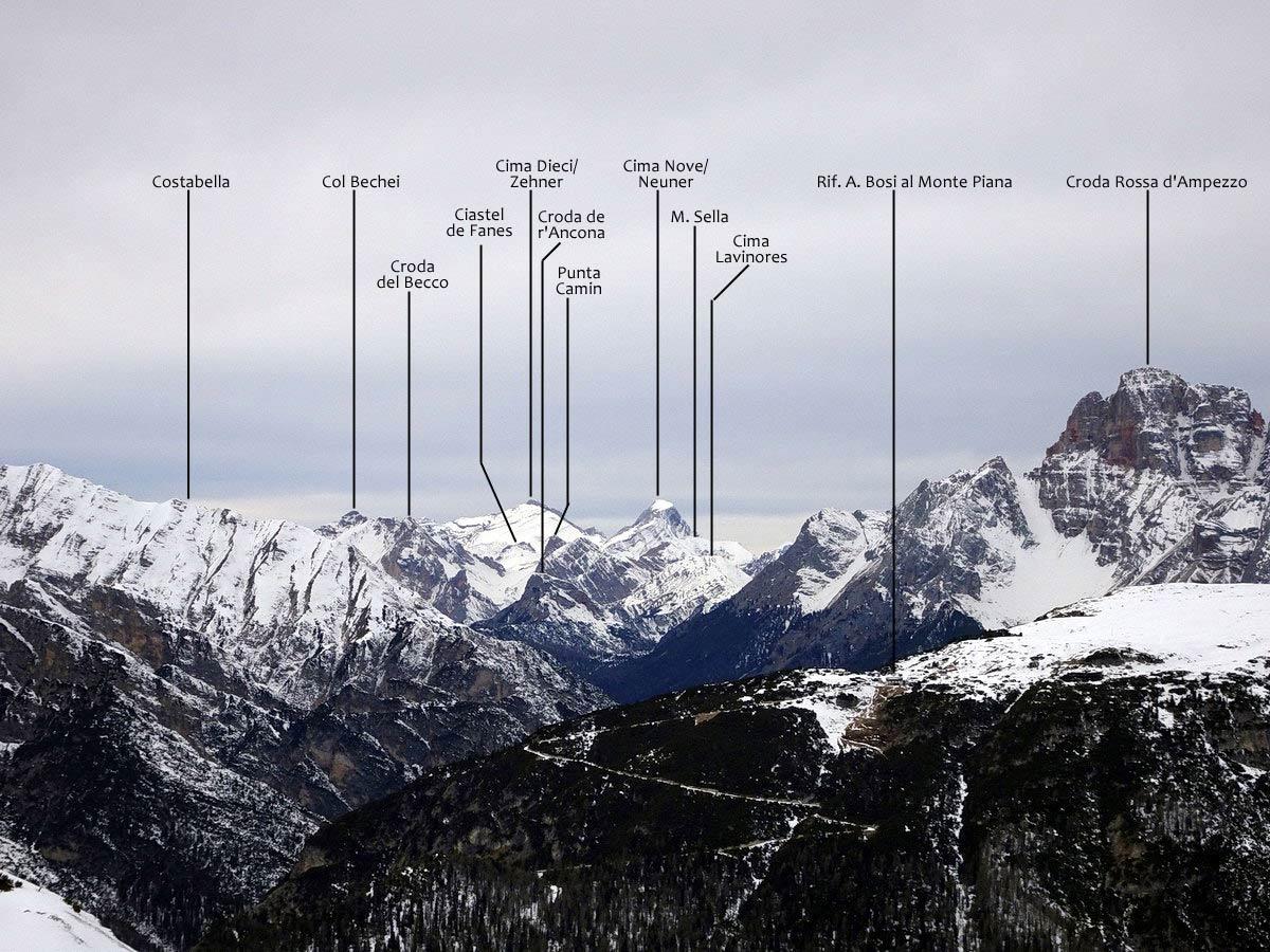 Cima Dieci e Cima Nove dalle Cianpedele con la scheda oronimi delle montagne circostanti