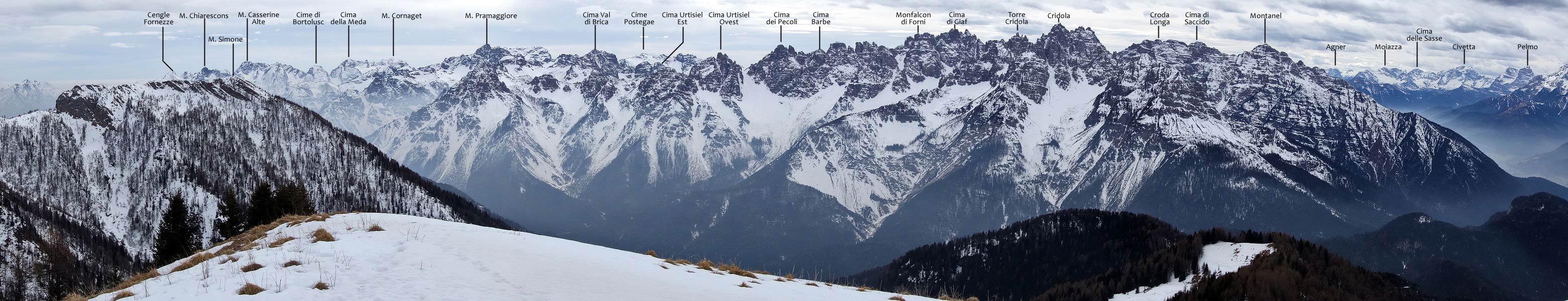 Panorama dal Col Rosolo verso i Monfalconi e il gruppo del Cridola (con oronimi)