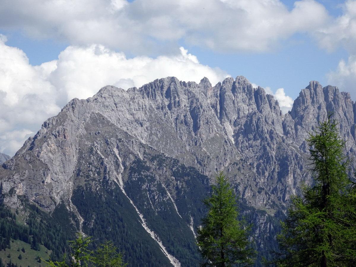 Creton di Clap Piccolo, Torre Sappada, Creton di Clap Grande e Creton di Culzei ripresi tra M. Pezzocucco e M. Palon