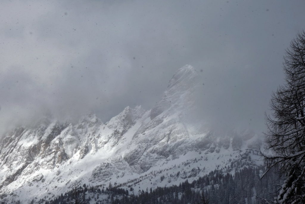 Da Col Marende verso il M. Brentoni mentre nevica